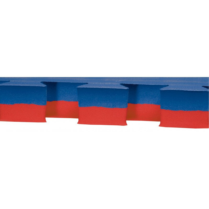 Karate puzzle mat, 1x1 meter, red/bluen